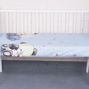 Простынь бязь детская 7347/2 Мишутка цвет голубой 110/150 см фото