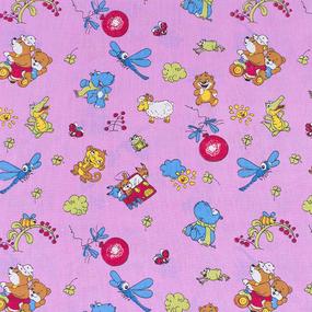 Набор детских пеленок бязь 4 шт 90/120 см 383/3 Зоопарк цвет розовый фото