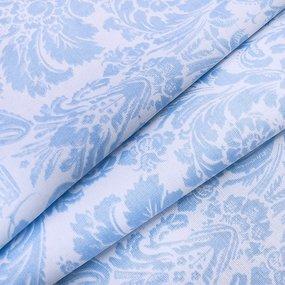 Ткань на отрез поплин 220 см 115 г/м2 391А/3 Дамаск цвет голубой фото