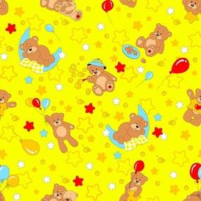 Ткань на отрез бязь ГОСТ детская 150 см 350/5 Мишки цвет желтый фото