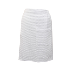 Вафельная накидка на резинке для бани и сауны Премиум мужская 60 см белый фото