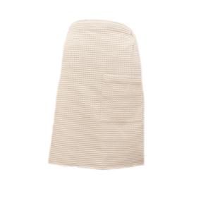 Вафельная накидка на резинке для бани и сауны Премиум мужская 60 см бежевый фото
