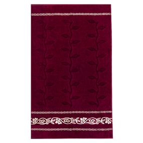 Полотенце велюровое Европа 70/130 см цвет бордовый с вензелями фото