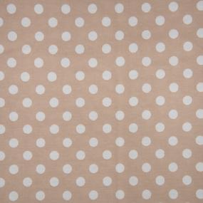 Ткань на отрез кулирка R1028-V7 Горох на бежевом фото