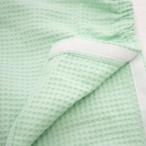 Вафельная накидка на резинке для бани и сауны Премиум женская с широкой резинкой цвет 301 мята фото