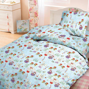 Бязь ГОСТ детская 150 см 1304/4 Лесная сказка цвет голубой фото