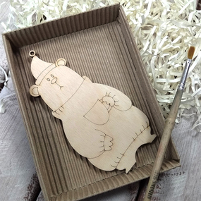 Набор для создания игрушки из фанеры Мишка фото