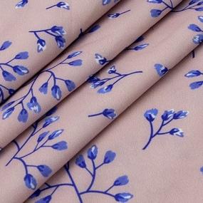 Ткань на отрез ниагара 150 см D052-2 Голубые цветы на розовом фото