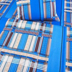 Постельное белье из бязи ГОСТ 351/1 Клетка синий 1.5 сп с 1-ой нав. 70/70 фото