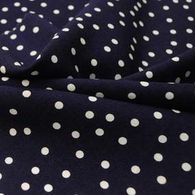 Ткань на отрез штапель 150 см 2445 Горох цвет темно-синий фото