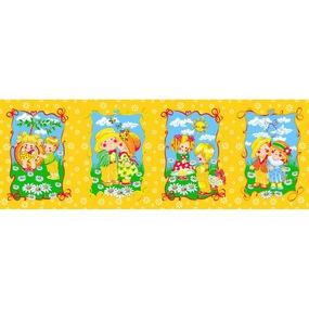Вафельное полотно набивное 180 см 418/4 Девочки и мальчики цвет желтый фото