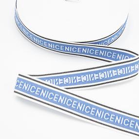 Тесьма синий белый NICE 2,5см 1 метр фото