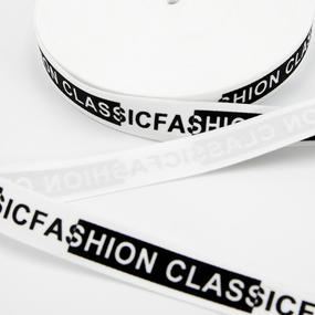 Тесьма черный белый надпись CLASSICFASHION 1метр фото