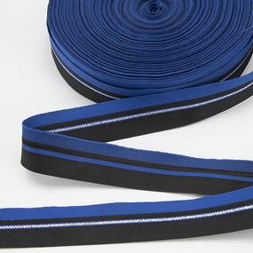 Тесьма черный синий полоска люрекс 2,5см 1 метр фото