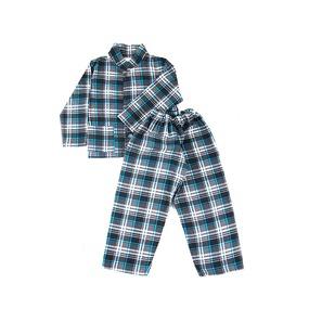 Пижама подростковая фланель клетка 28-30 цвет серый фото