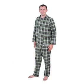 Пижама мужская бязь клетка 44-46 цвет зеленый фото