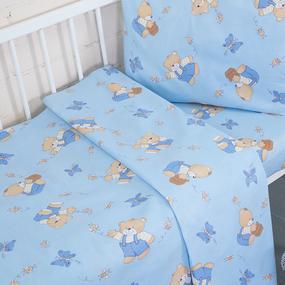 Пододеяльник детский из бязи 1332/1 За медом цвет голубой, 110х145 см фото