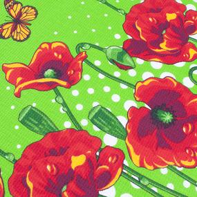 Фартук кухонный из вафельной ткани 438/2 Маки цвет зелёный фото