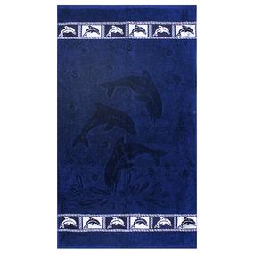 Полотенце махровое Дельфины 50/90 см цвет синий фото