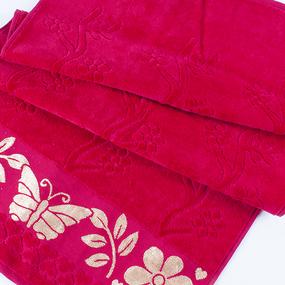 Полотенце велюровое Европа 50/90 см цвет малиновый фото