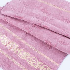 Полотенце велюровое Европа 70/130 см цвет пыльно розовый с вензелями фото