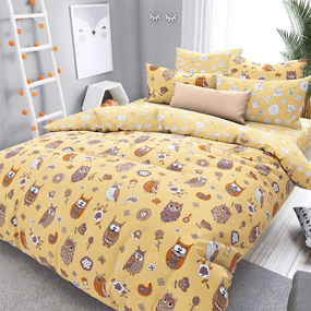 Ткань на отрез поплин детский 220 см 28330/1 Совята желтые компаньон фото