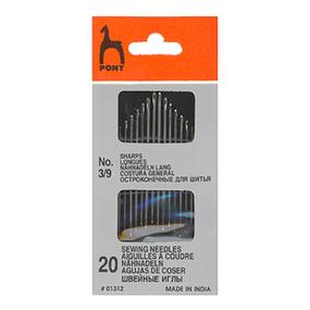 Иглы швейные с острым кончиком PONY 01312 размер 3-9 уп 20 шт фото