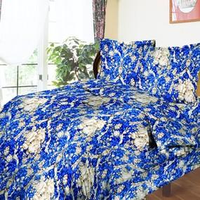 Комплект простыня 1.5 сп + 1 нав. 70/70 бязь 112/1 Барокко цвет синий фото