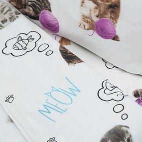 Постельное белье в детскую кроватку 16050/1 Пушистики перкаль с простыней на резинке фото