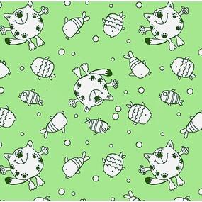 Маломеры ситец 95 см 98042 Котики цвет зелёный 1,9 м фото