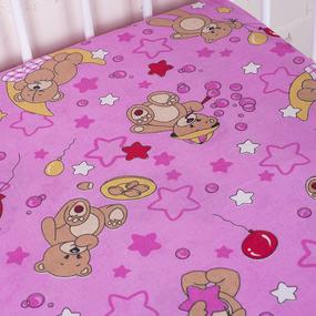 Простыня на резинке бязь детская 350/3 Мишки розовый 60/120/12 см фото
