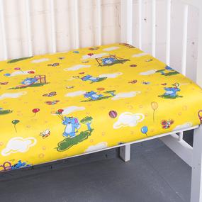 Простыня на резинке бязь детская 315/5 Слоники желтый 60/120/12 см фото