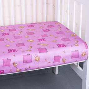 Простынь бязь детская 366/3 Жирафики цвет розовый 110/150 см фото