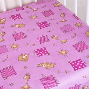 Простыня на резинке бязь детская 366/3 Жирафики цвет розовый 60/120/12 см фото