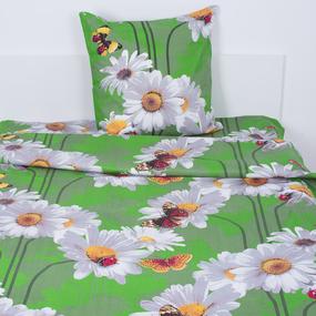 Постельное белье бязь ГОСТ 1351/1 Ромашки цвет зеленый 1.5 сп фото