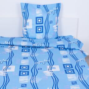 Постельное белье из бязи ГОСТ 348/1 Пикассо цвет голубой 1.5 сп с 1-ой нав. 70/70 фото