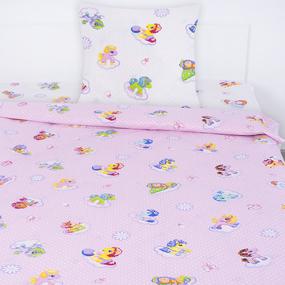 Детское постельное белье из поплина 1.5 сп 5030/1 Бусинка розовый фото