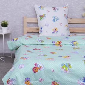 Детское постельное белье из поплина 1.5 сп 5030/3 Бусинка зеленый фото