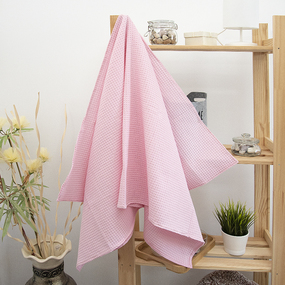 Полотенце вафельное банное Премиум 150/75 см цвет 706 розовый фото