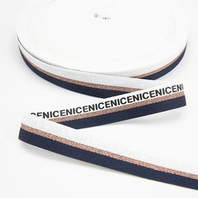 Тесьма белый золото синий NICE 2см 1 метр фото