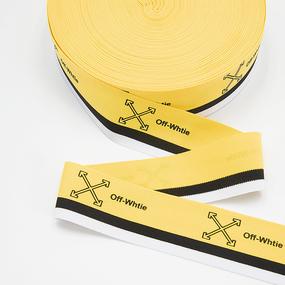 Тесьма белый черный желтый Off-Whtie 3,5см 1 метр фото