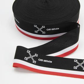 Тесьма красный белый черный Off-Whtie 3,5см 1 метр фото