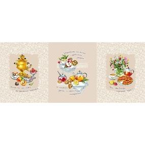 Ткань на отрез вафельное полотно набивное 150 см Я013188 Дружеское чаепитие фото