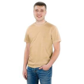 Мужская однотонная футболка цвет бежевый 48 фото