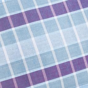 Полулен полотенечный 50 см 3/89/77 Клетка топленое молоко голубой синий 113358 фото