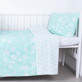 Постельное белье в детскую кроватку 1556/7А+1683/16 цвет мята с простыней на резинке фото