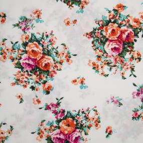 Ткань на отрез штапель 150 см D025-2 Букет роз фото