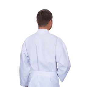 Халат мужской вафельный шалька 240 гр. ячейка 7х7 см белый р.56 фото