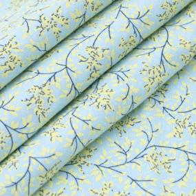Ткань на отрез кулирка 2371-V8 Веточки цвет светло-голубой фото