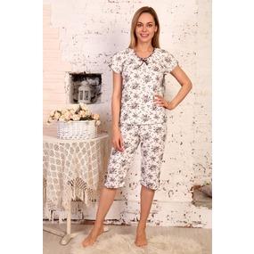 Пижама Лада бриджи Коричневый букет Б3 р 60 фото